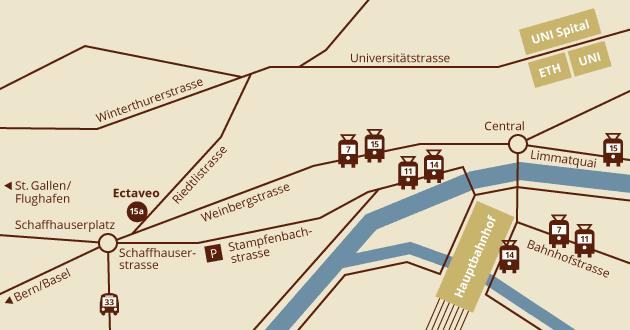 Lageplan Ectaveo, Riedtlistrasse 15a, 8006 Zürich