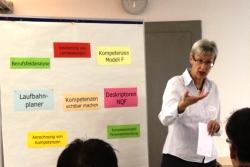 """Als Einführung zeigte Mirjam Häubi die Hintergründe zum neuen Entwicklungsschwerpunkt """"Sichtbarmachen von Kompetenzen"""" auf."""